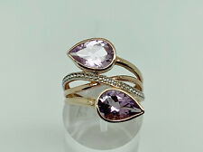 Stunning Modern Rose Gold on Sterling Silver Amethyst Large Cocktail Ring Size T