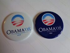 BARACK OBAMA BLUE AND WHITE 2008 ORIGINAL CAMPAIGN PINS 2""