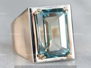 12 CT Emerald Cut Aquamarine Men's Halo Wedding Pinky Ring 14k White Gold Finish