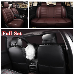 Full Set PU Leather Car Seat Cover Cushions Protector w/Headrests Waist Pillows