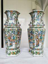 Paire vases porcelaine chinois ancien Famille Verte Scholars