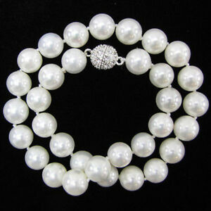 """Pretty 10mm Genuine White South Sea Shell Pearl Round Beads Necklace 18"""" AAA"""