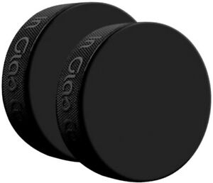 (2) Inglasco Black 6oz Practice Ice Hockey Pucks Official Size & Weight (2-Pack)