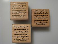 """NEW Set/3 2004 Stampin' Up PHRASES (Thank You, My Friend) 2"""" x 2"""" Wood/Rubber"""