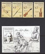 MUSIC :ANTIGUA/BARBUDA 1985 Bach set +MS  SG960-3+MS 964 never-hinged mint