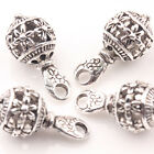 10/20Pcs Tibet Silver Hollow Flower Carved Bead Charm Pendant Jewelry Making DIY