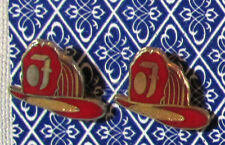 "2 Two Vintage FIRE FIGHTERS HELMET PIN BUTTONS Jandy 1/2"" width Button"