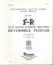 Ransomes Plough TS51 Single Furrow Mounted Reversible Parts Manual - GTC1C