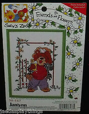 "Janlynn Cross Stitch Kit 5"" X 7"" Suzy's Zoo Friends Flowers Bear #38-167"