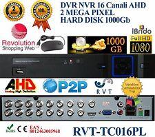 KIT DVR 16 CANALI IBRIDO ANALOGICO/DIGITALE AHD NVR HVD HARD DISK 1 TERA 1000 G