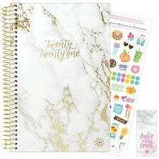 2021 Gold Marble Calendar Year Daily Planner Agenda 12 Month January - December