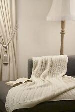 "Classic Style 100% Merino Wool 45"" x 60"" Throw Blanket [Ecru White]"