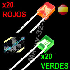 x40 Diodos Led Rectangular 2x3x4mm Rojo y Verde Difuso + Resistencias - Arduino