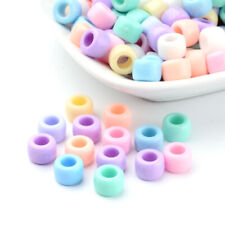 200 Random Acrylic Donut Beads Smooth Chunky Opaque Loose Spacer Large Hole 8mm