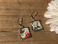 Recycled Broken Porcelain Jewelry, Royal Winton Holiday Earrings
