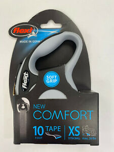 Flexi New Comfort Tape Leash 10' ft Gray for Extra Small Dogs 26lbs max