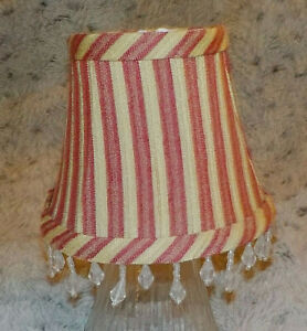 "Small 4"" fabric chandelier lamp shade, burgundy & gold stripe, hanging bead edge"