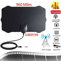 960 Mile Indoor Digital TV Antenna Aerial Signal Amplified Thin HDTV HD Freeview