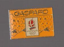 pin's Jeux olympiques Albertville 92 / Gaspard (version jaune époxy COJO 1991)