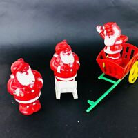 Vtg Christmas plastic Santa's ornaments 50's sleigh treat cups candy containers