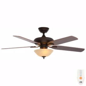 Hampton Bay Flowe 52 in. Indoor LED Mediterranean Bronze Ceiling Fan