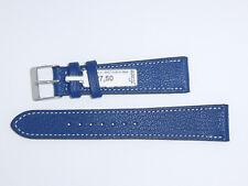 "FLUCO Genuine Vintage Leather Watch Band Strap 20 mm Blue Navy ""Montana-Ziege"""