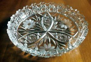 "American Brilliant Period Cut Glass 9"" Low Bowl Harvard & Daisy Pattern Gorgeous"
