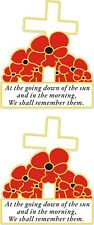 """2 POPPY CAR STICKERS WITH CROSS """"WE WILL REMEMBER THEM"""" - Also for laptops etc.."""