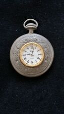 ~  AUTHENTIC POCKET  WATCH / VINTAGE PEWTER/ SIGNED /  DECORATED 7 CM DIAMETER