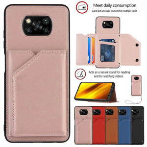 For Xiaomi Poco X3 NFC Redmi Note 9 Magnetic Leather Card Wallet Back Case Cover