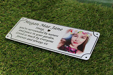 photo memorial,pet memorial, bench plaque, NEW THICKER VERSION IN BRUSHED SILVER