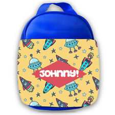 Personalised Kids Lunch Bag Any Name Space Design Childrens Boys School Snack 8