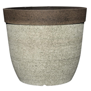 Concrete Look Planter, Indoor/Outdoor, Fade-resistant UV Resin 11.5 in. Dia.