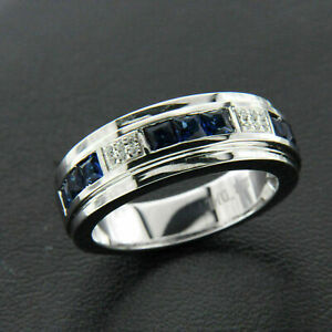 mens wedding band The WHITE COUNT silver and white sapphires unisex band