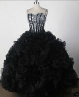 Black Organza Sequined Quinceanera Dresses New Ball Gown Formal Party Prom Dress