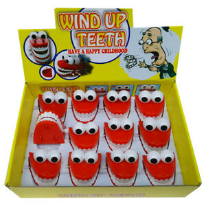 6 x  CHATTERING TEETH Wind-Up Teeth Ideal Birthday Bag Filler   NEW