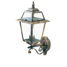 Searchlight 1521 New Orleans IP44 Black & Gold Outdoor Wall Light Clear Glass