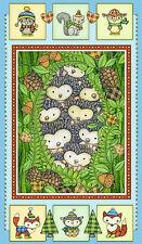 "Christmas Animal Fabric Hedge Hog Fox Holiday HG&Co Hedgehugs - 24""X44"" PANEL"
