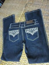 Cowgirl Up Arena Nights Lace Sparkle Pocket Jeans 26 x 30 western Rhinestone EUC