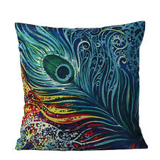 Colorful Peacock Feather Cotton Linen Throw Pillow Cases Sofa Cushion Cover