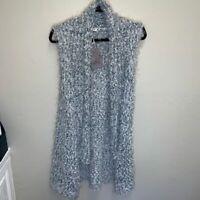 NWT Hem & Thread Women's Boho Eyelash & Cable Knit Open Front Duster Vest Size S