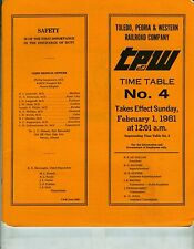 TOLEDO, PEORIA & WESTERN TP&W ETT TIMETABLE SYSTEM  #4  FEBRUARY 1, 1981.