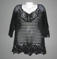 WOMENS UMGEE BLACK CROCHET LACE BOHEMIAN TUNIC TOP SWEATER SHIRT SIZE M