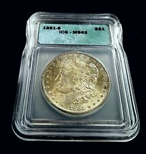 1881-S Morgan Silver $1 ICG MS65 BU Gem Great Strike Blue/Bronze Toning