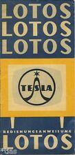 Tesla Bedienungsanweisung Fernseher Fernsehgerät Lotos 4211 U 6 um 1961