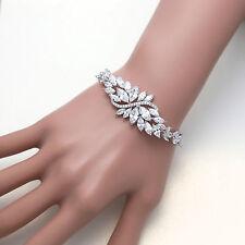 Elegant Flower Vintage Cubic Zirconia CZ Wedding Bride Bracelet Birthday Gift