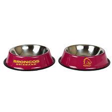 345097 BRISBANE BRONCOS NRL TEAM LOGO PET BOWL CAT OR DOG - MEDIUM 25cm BASE