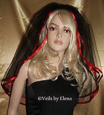 "Wedding Bridal Veil Red Black Gothic Elbow  2T 54"" Width 26"" length Ribbon Edge"
