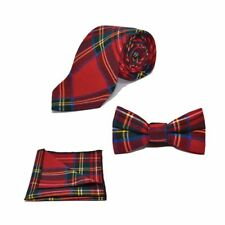 Traditional Red Tartan Check Bow Tie, Tie & Pocket Square Set - Tweed, Plaid, St