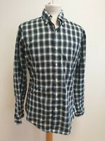 J269 MENS RALPH LAUREN BLUE GREEN WHITE CHECK L/SLEEVE BUTTON COLLAR SHIRT UK S